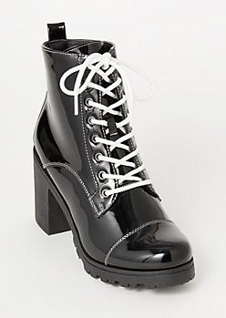 Black Faux Leather Lug Hiker Booties
