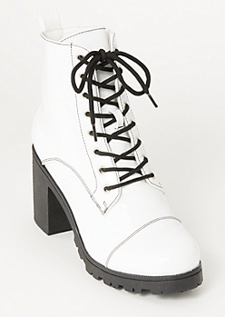 White Faux Leather Lug Hiker Booties