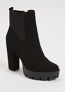 Black Faux Suede High Heel Lug Booties