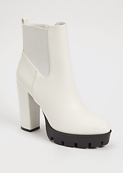 White Faux Leather High Heel Lug Booties