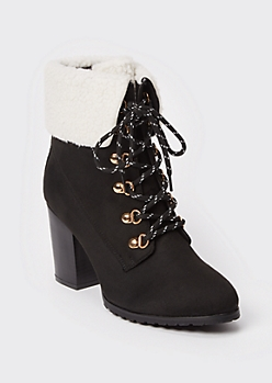 Black Faux Shearling Ankle Heeled Booties