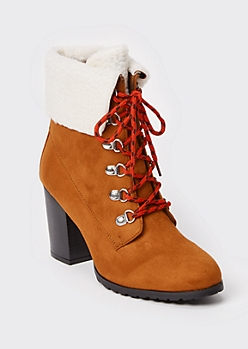 Camel Faux Shearling Ankle Heeled Booties