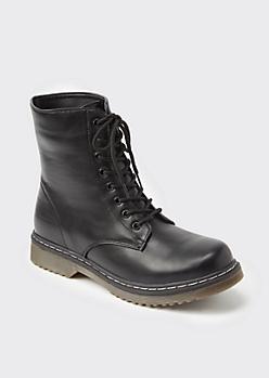 Black Faux Leather Combat Boots