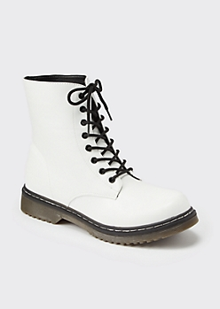 White Faux Leather Combat Boots
