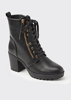 Black High Top Zip Heeled Booties