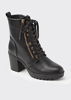 Black High Top Zip Heeled Booties