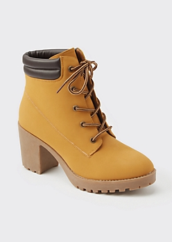 Camel Lace Up Heeled Hiker Boots