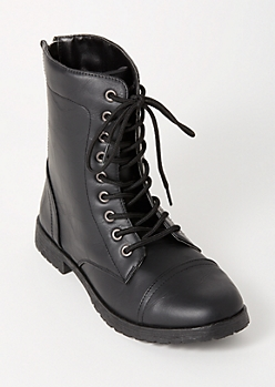 Black Lace Up Back Zip Combat Boots
