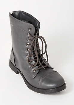 Gray Lace Up Back Zip Combat Boots