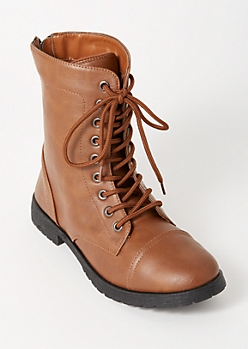 Cognac Lace Up Back Zip Combat Boots