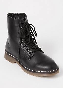Black Lace Up Faux Leather Combat Boots