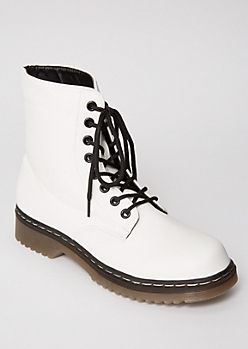 White Lace Up Faux Leather Combat Boots
