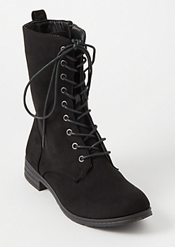 Black Faux Suede Lace Up Boots