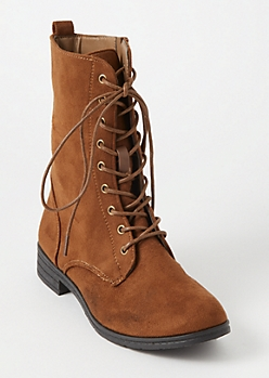 Brown Faux Suede Lace Up Boots