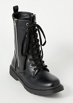 Black Lace Up Side Zip Combat Boots