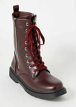 Burgundy Lace Up Side Zip Combat Boots