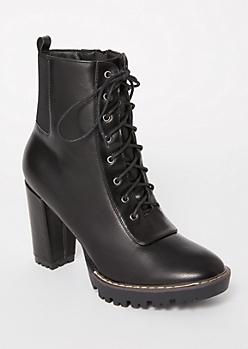 Black Gore Lace Up Lug Booties