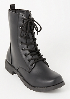 Black Faux Leather Lace Up Combat Boots