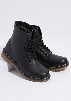Black Faux Leather Ankle Combat Boots