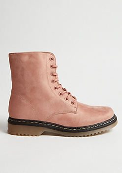 Pink Faux Suede Ankle Combat Boots