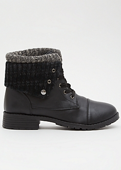 Black Faux Leather Sweater Fold Combat Boots
