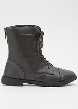 f6d188fe6a8 Gray Faux Leather Lace Up Combat Boots