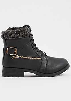 Black Faux Leather Sweater Zip Combat Boots