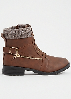Brown Faux Leather Sweater Zip Combat Boots