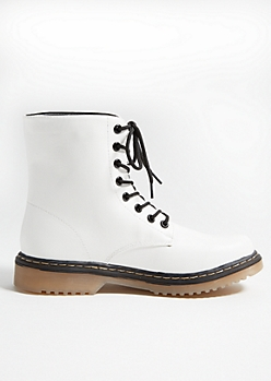 White Faux Leather Lace Up Combat Boots