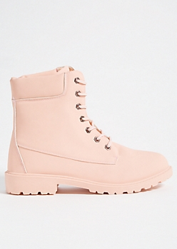 Pink Faux Leather Hiker Combat Boots