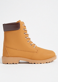 4b7bbba000b6 Camel Faux Leather Hiker Combat Boots