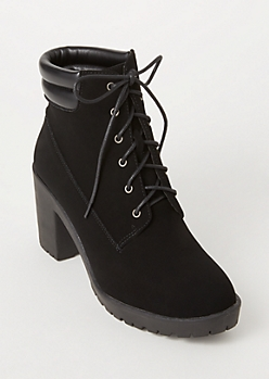 Black Faux Leather Lace Up Lug Hiker Booties