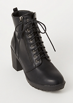 Black Side Zip Lug Heeled Hiker Boots