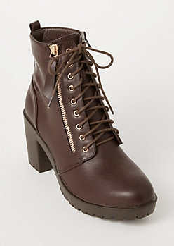 Brown Side Zip Lug Heeled Hiker Boots