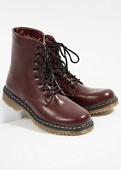 Burgundy Lace Up Combat Booties