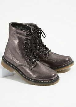 Gray Metallic Lace Up Combat Booties