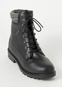 Black Sweater Trim Combat Boots