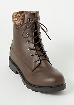 Brown Sweater Trim Combat Boots