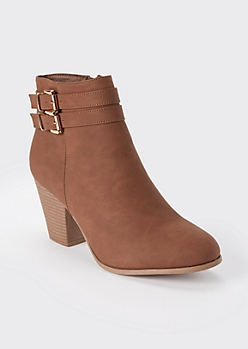 Brown Double Buckle Heeled Booties