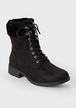 Black Double Buckle Heeled Booties