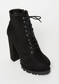 Black Lug Sole Heeled Booties