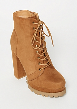Cognac Lug Sole Heeled Booties