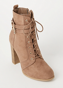 Taupe Double Buckle Heeled Booties