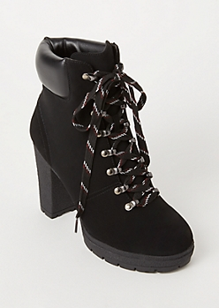 Black Lace Up Lug Hiker Booties
