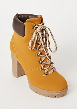 Camel Lace Up Lug Hiker Booties