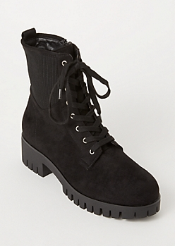 Black Faux Suede Ribbed Knit Combat Boots