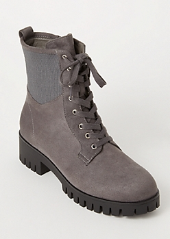 Gray Faux Suede Ribbed Knit Combat Boots