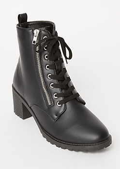 Black Side Zip Lug Booties