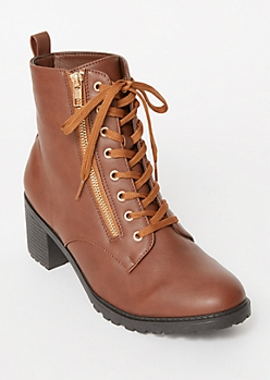 Cognac Side Zip Lug Booties