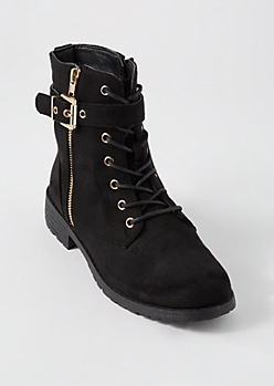 Black Wrap Buckle Combat Boots